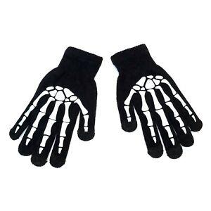 Gothic Horror Punk 80s Misfit White Skeleton Bones Mens Black Touchscreen Gloves