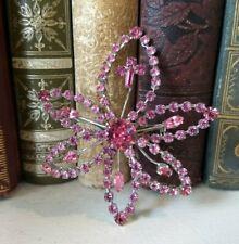 """Vintage Rhinestone Pink Floral Flower Brooch Pin 3"""""""