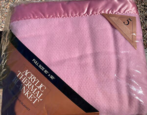 """Vintage Pink Acrylic Full Thermal Blanket with Satin Trim New Old Stock 80""""x90"""""""