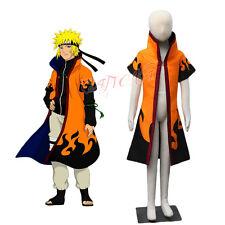 Cafiona Naruto Shippuuden Uzumaki Naruto Cosplay Costume Cloak Child Long Coat