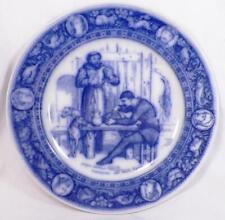 Wedgwood Ivanhoe Flow Blue Dinner Plate Friar Tuck Entertains the Black Knight