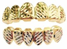 Hip Hop 14K Gold Plated Mouth Teeth Grills Grillz Set - Diamond Cut L003