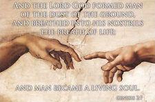 HANDS OF CREATION Genesis 2:7 Biblical Inspiration POSTER - God and Adam