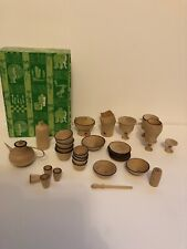 Doll House Wooden Crockery Pots Set Conplete W Box Barbie Sindy Sized Interest