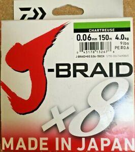 Daiwa J-Braid x8 Strands - Chartreuse - 150m Spool - 0.06mm - 9lb/4.0kg.