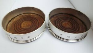 HANDSOME LARGE PAIR ENGLISH ANTIQUE VINTAGE 1978 STERLING SILVER WINE COASTERS