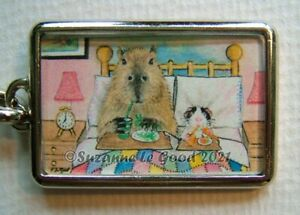 Guinea Pig Capybara art keyring key charm from original painting Suzanne Le Good