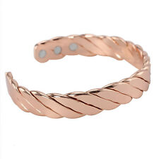 New MAGNETIC MENS BRACELET CHUNKY COPPER GOLD BANGLE ARTHRITIS MAGNETIC BIO