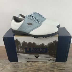FootJoy Women's Golf Shoes Comfort Size 5.5 Width M Style 98203 White Blue New