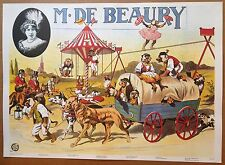 Vintage BEAURY circus ANIMAL ACT poster fairground magician conjuring