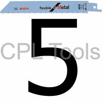 """5 Bosch S922BF Reciprocating Sabre Saw Blades 150mm / 6"""" Flexible for METAL"""
