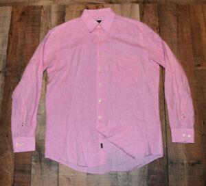 MINE 100% Linen Pink Heather Button Collar Shirt Men's Medium (see measurements)