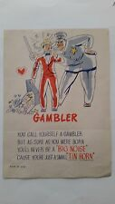 Rare Vintage Mid 20's to 30's Inspirational,Self Help poster. GAMBLER
