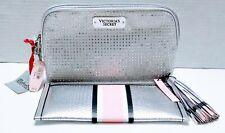 2PC Victoria Secret SILVER BLING RHINESTONES Cosmetic MAKEUP Bag EVENING CLUTCH