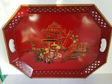 "Japanese Metal Serving Tray by E.T. Nash Co. 1950's 20"" W Vintage Hand Painted"