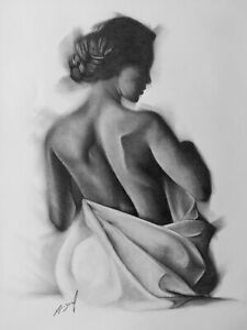 Nude Female Pencil Drawing Original Signed Picture Art Bodyscape Behind