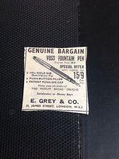 T1-6 Ephemera 1953 Advert Small Voss Fountain Pen E Grey & Co London