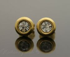 YELLOW GOLD IP SURGICAL STEEL ROUND CLEAR CRYSTAL MENS WOMENS STUD EARRINGS