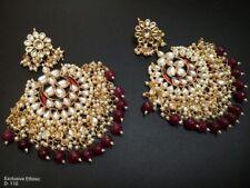 Gold Tone Indian Kundan Chandbali Earrings Set Bollywood Traditional Jewelry