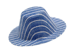 Dolls House Blue with White Stripes Trilby Hat Miniature Man Doll Hall Accessory