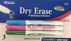 3 Pcs Bright Colors Dry Erase Whiteboard Marker Fine Point (Green Pink Blue)