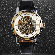 Men Classic Transparent Steampunk Skeleton Mechanical Stainless Steel Watch