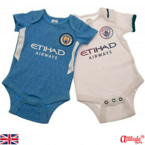 Man City Baby Grows-2 In A Pack-Official-Man City Baby Clothes-Man City Bodysuit