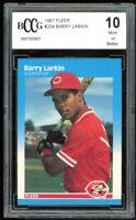 1987 Fleer #204 Barry Larkin Rookie Card BGS BCCG 10 Mint+