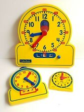 """Lakeshore Two Way Teaching Clock Learn to tell Time Toy 15"""" 9"""" 5"""" Yellow set 3"""