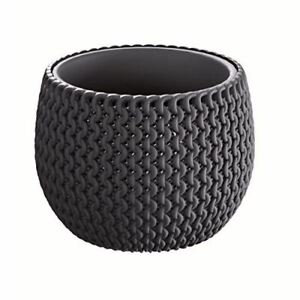 Small KNIT Inspired Indoor/Outdoor Garden Plant Pot Planters, Black, Set of 2
