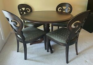 "Arhaus Jordan 48"" Round Dining Table Flip Top Turned Pedestal Base Dark Wood"