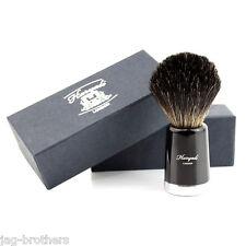 Men's 100% BLACK Badger Hair Shaving Brush in BLACK TAPPER Handle Made in UK