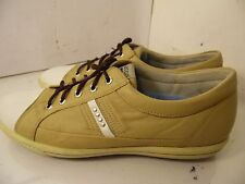 Ecco Beige Leather Sneakers Golf Shoes Womens Size 42 Spikeless