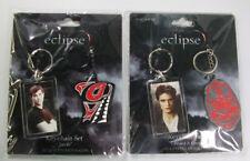 "Lot of (2) Twilight Saga Eclipse Keychain Sets ""Jacob"" and ""Edward & Crest"" NIP"