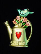 """JJ"" Jonette Jewelry Gold Pewter 'LOVE of Gardening' Bird Pin"
