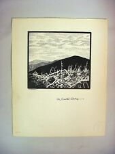 1930-40s C.Palmer Ink Drawing of Carter Dome, New Hampshire Mountainscape