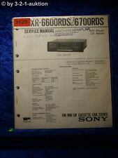 Sony Service Manual XR 6600RDS / 6700RDS Car Stereo (#3125)