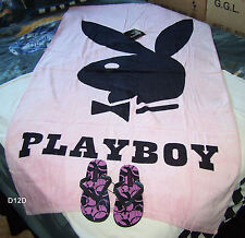 Playboy Bunny Logo Printed Velour Beach Towel & Thongs Set Imperfect / Marked
