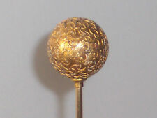 Antique 14K Yellow Gold Etruscan Hatpin - Round Ball Top