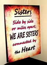 Vintage style Sisters connected by heart metal wall sign sister family gift idea