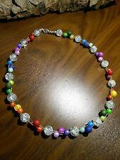 Neu unikat Regenbogen Glas  Polariskette Halskette Collier Polaris perlen kette