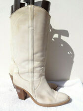 Next Vintage Off White Cream Cowboy Boots Leather Boho Hippy UK 8 42