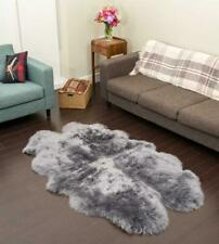 Quad Australian Sheep Skin Rug Grey Sheepskin Natural Gray Shaggy Fur 4 x 6 ft