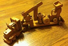 "Handcrafted Wooden Wood Truck Semi Tractor Trailer Big Rig & Backhoe 15.5"" Long"