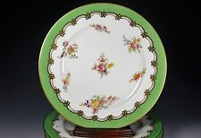 Set of Four Green and Gold Trim with Hand Painted Flowers Coalport Plates