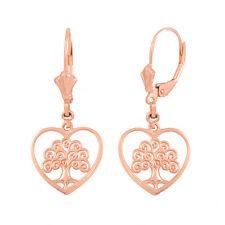 14k Rose Gold Tree of Life Open Heart Filigree Drop/Dangle Leverback Earrings