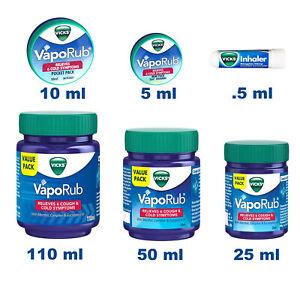 Vicks VapoRub Vapour Rub Congestion Cold Headache Relief Menthol Eucalyptus