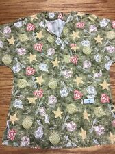 Scrub Med Women's Top Size Small Green Christmas Print Ornaments GUC