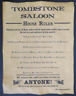 Tombstone Saloon House Rules Poster, old west, western, wanted, bar, tavern