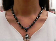 "Elegant 8mm Black South Sea Shell Pearl Drop Pendant Necklace 18"" Aaa+"